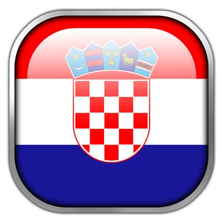 bandiera croazia: Croazia Bandiera pulsante quadrato lucido Archivio Fotografico