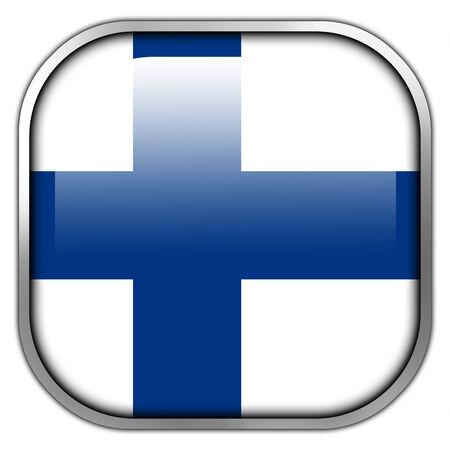 bandera de finlandia: Bot�n brillante del cuadrado de la bandera de Finlandia Foto de archivo
