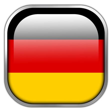 deutschland fahne: Deutschland-Flaggen-Quadrat gl�nzende Taste