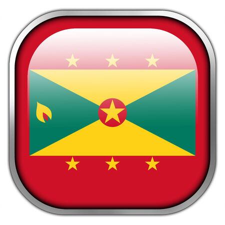 grenada: Grenada Flag square glossy button