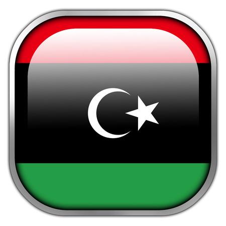 libyan: Libya Flag square glossy button