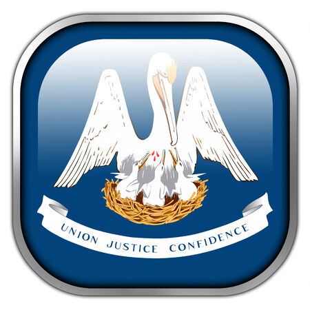Louisiana State Flag square glossy button photo