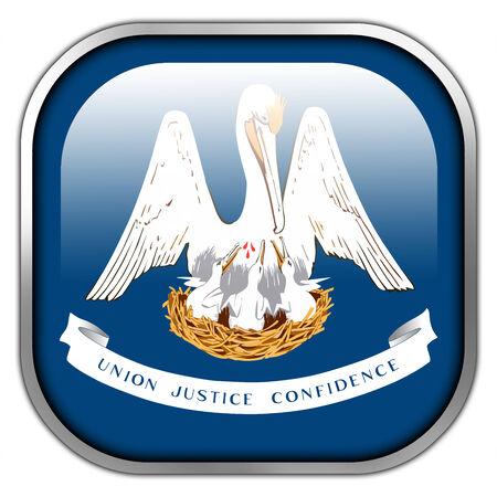 louisiana flag: Louisiana State Flag square glossy button Stock Photo