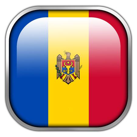 leu: Moldavia Bandiera pulsante quadrato lucida Archivio Fotografico