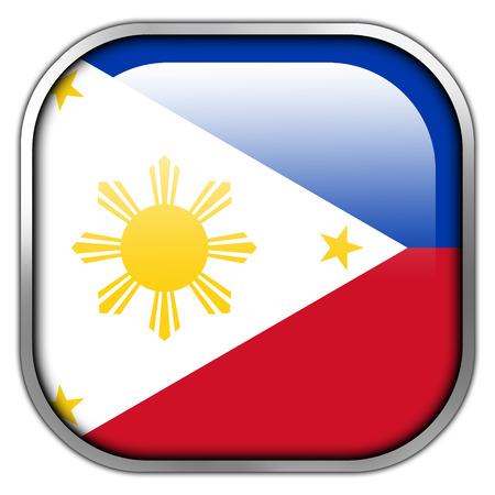 manila: Philippines Flag square glossy button
