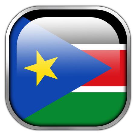 South Sudan Flag square glossy button photo