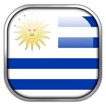 bandera de uruguay: Bot�n brillante del cuadrado de la bandera de Uruguay