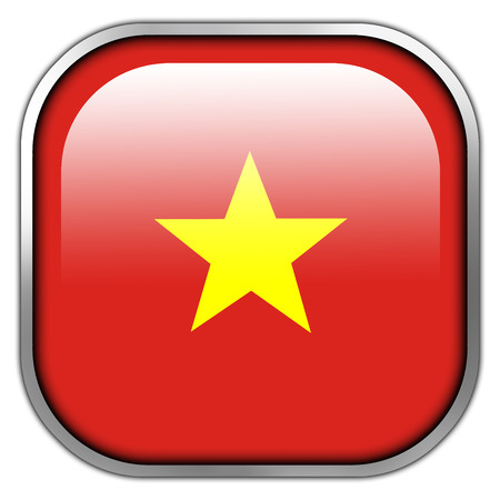 Vietnam Flag square glossy button photo
