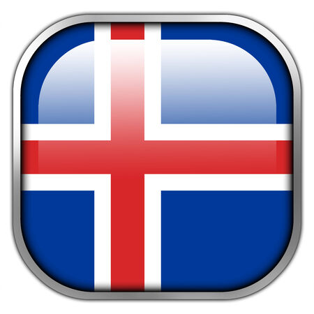 Iceland Flag square glossy button photo