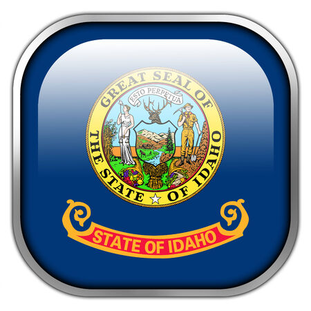Idaho State Flag square glossy button photo