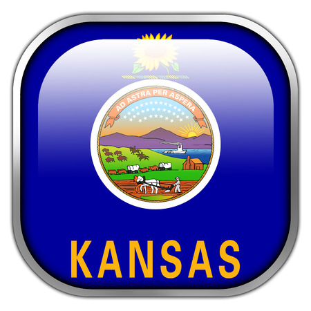 Kansas State Flag square glossy button photo