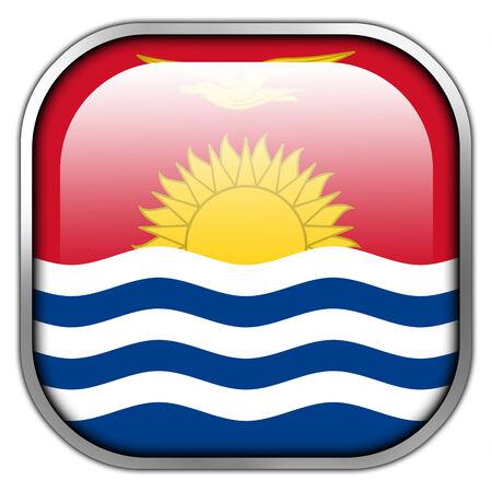 kiribati: Kiribati Flag square glossy button Stock Photo