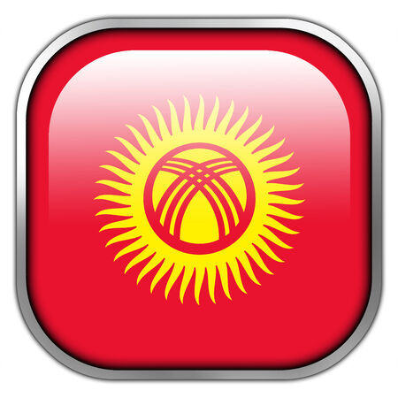 landlocked country: Kyrgyzstan Flag square glossy button