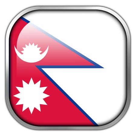 himalaya: Nepal Flag square glossy button Stock Photo