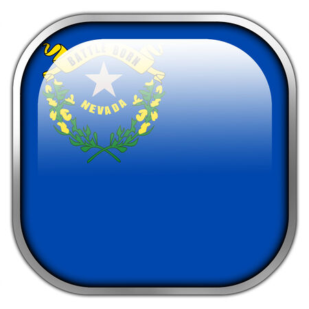 Nevada State Flag square glossy button photo