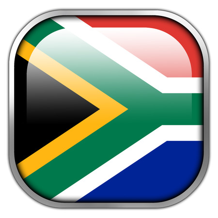 South Africa Flag square glossy button photo