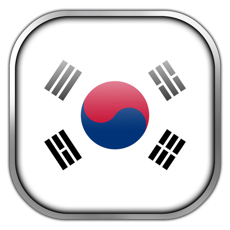 South Korea Flag square glossy button photo