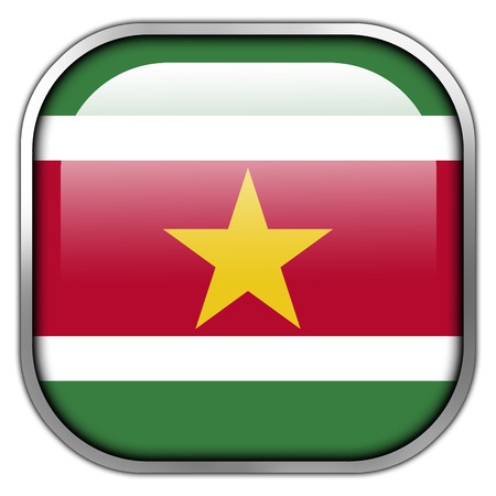 suriname: Suriname Flag square glossy button Stock Photo