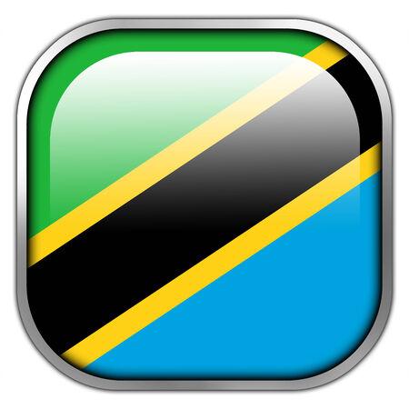 Tanzania Flag square glossy button photo