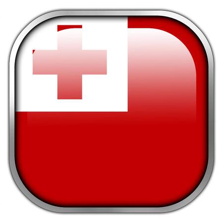 Tonga Flag square glossy button