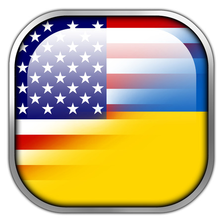 Ukraine and USA Flag square glossy button photo