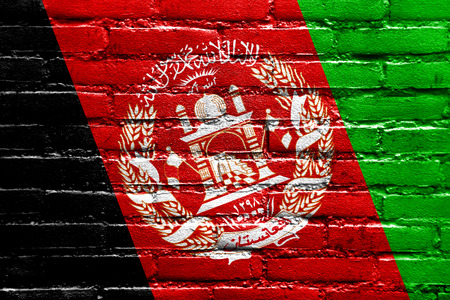afghanistan flag: Afghanistan Flag painted on brick wall