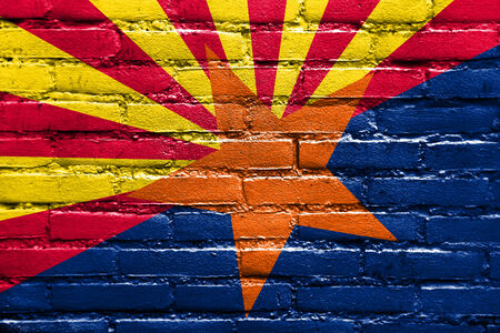 Arizona State Flag painted on brick wall