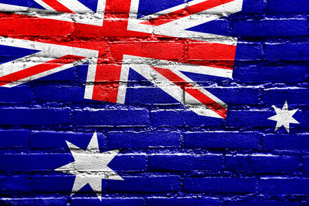 brick and mortar: Australia Flag painted on brick wall Stock Photo