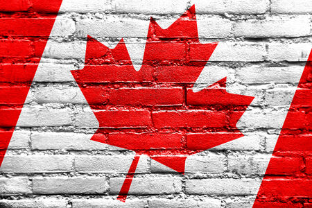 Canada Flag painted on brick wall photo