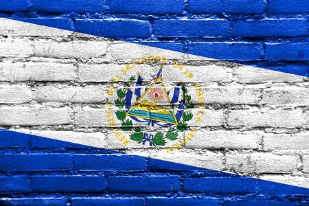 el salvador flag: El Salvador Flag painted on brick wall