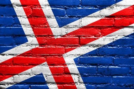 flag of iceland: Bandera de Islandia pintado en la pared de ladrillo