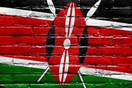 brick and mortar: Kenya Flag painted on brick wall Stock Photo