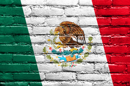 flag mexico: Mexico Flag painted on brick wall