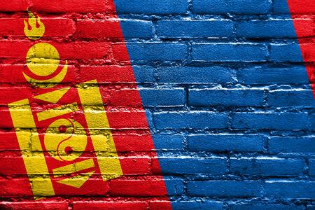 bulwark: Mongolia Flag painted on brick wall