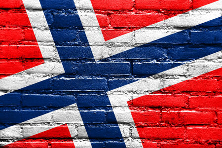 Norway Flag painted on brick wall photo