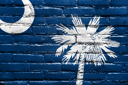 brick and mortar: South Carolina State Flag painted on brick wall