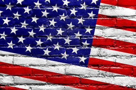USA Flag painted on brick wall photo