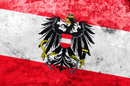 Austria Flag with a vintage and old look photo