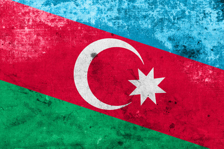 Azerbaijan Flag with a vintage and old look photo
