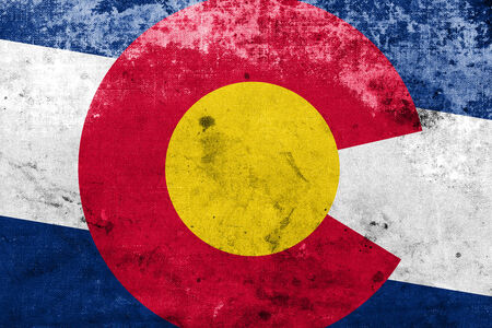 colorado mountains: Colorado State Flag with a vintage and old look Stock Photo