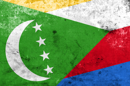 photographic effects: Comoros Flag with a vintage and old look