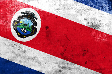 costa rica flag: Costa Rica Flag with a vintage and old look