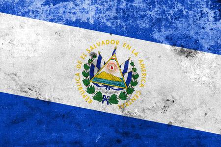 el salvador flag: El Salvador Flag with a vintage and old look Stock Photo
