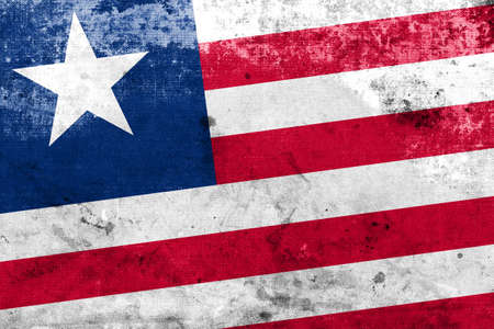 Liberia Flag with a vintage and old look photo