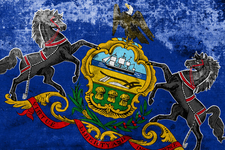 Pennsylvania State Flag with a vintage and old look photo
