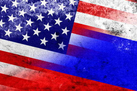 cold war: USA and Russia Flag with a vintage and old look