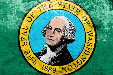 founding fathers: Washington State Flag with a vintage and old look Stock Photo