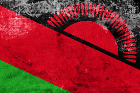 malawian flag: Malawi Flag with a vintage and old look