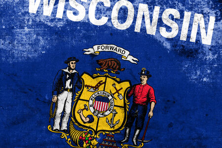 wisconsin flag: Wisconsin State Flag with a vintage and old look