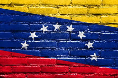 brick and mortar: Venezuela Flag painted on brick wall